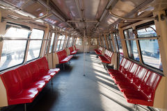 Metro train interior. Old metro train used in Bucharest royalty free stock images