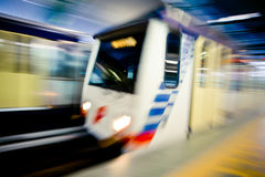 Metro Train with motion blur effect Stock Photos
