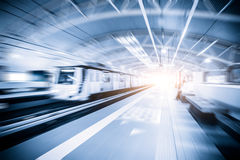 Metro Train with motion blur effect Royalty Free Stock Images