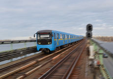 Metro train in motion Stock Photography