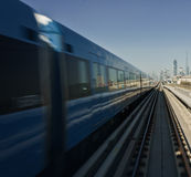 Metro train in movement Stock Images
