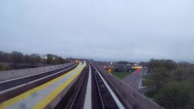 Metro or train in New York. Elevated railway stock video footage