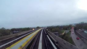 Metro or train in New York. Elevated railway stock video