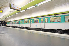 Metro train in Paris Stock Images