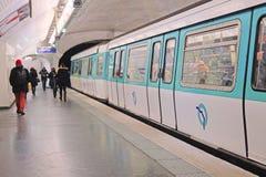 Metro train in Paris Stock Photo
