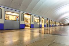 Metro train on platform Royalty Free Stock Photography
