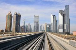 Metro Train, railway in Dubai royalty free stock photos