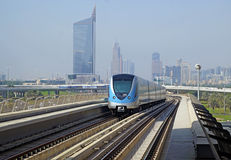 Metro train on the Red line in Dubai Stock Photography