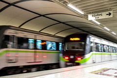 Metro train. Speeding up in the subway Royalty Free Stock Photo