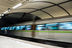 Metro train. Speeding up in the subway Royalty Free Stock Images