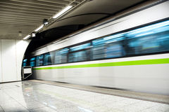 Metro train. Speeding up in the subway Royalty Free Stock Image