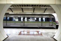 Metro train. Metro train speeding up in the subway Stock Photography