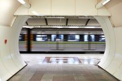 Metro train. Metro train speeding up in the subway Royalty Free Stock Photography