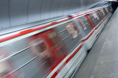 Metro train in station. Detail of metro train in station stock photography
