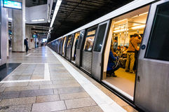 Metro train at the station Stock Images
