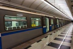 Metro train in station Royalty Free Stock Photo