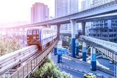 Metro train at the subway station at chongqing royalty free stock image