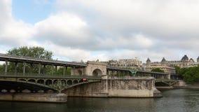 Metro train timelapse on the pont de Bir Hakeim bridge. PARIS FRANCE, JUNE 12, 2017: Metro train timelapse on the pont de Bir Hakeim bridge stock video