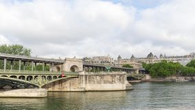 Metro train timelapse on the pont de Bir Hakeim bridge. PARIS FRANCE, JUNE 12, 2017: Metro train timelapse on the pont de Bir Hakeim bridge stock footage