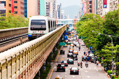 Metro train. On the way in Taipei stock images