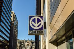Metro transit sign in Montreal downtown. In Canada, America royalty free stock photos