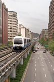 Metro trasportion. It is a metro car on the way in big city stock images