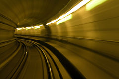 Metro tube. In motion in green colors stock photo