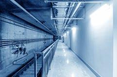 Metro tunnel, blue tone image. Royalty Free Stock Photos