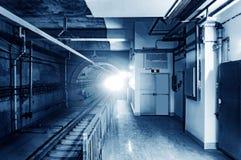 Metro tunnel, blue tone image. Royalty Free Stock Photo