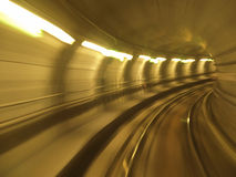 Metro tunnel blur. Speed and motion blur in metro tunnel Royalty Free Stock Photography
