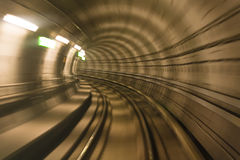 Metro tunnel, blurred motion Stock Images