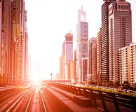 Metro UAE. Dubai Metro. Evening view of the city. UAE stock image