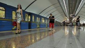 Metro. Underground station in Kiev, Ukraine stock video