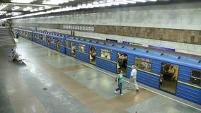 Metro. Underground station in Kiev, Ukraine stock footage