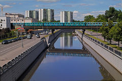 Metro underground train goes by Preobrazhenskiy bridge on Yauza river in Moscow Stock Photography