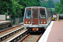 Metro unit leaves station royalty free stock photo