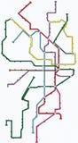 Metro, Untergrundbahn, Untertagekarte Lizenzfreies Stockbild