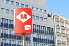 Metro van Barcelona teken Stock Afbeeldingen