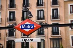 Metro van de opera, Madrid Stock Foto