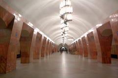 Metro van Moskou, binnenlands van post Marksistskaya Stock Afbeelding