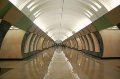 Metro van Moskou, binnenlands van post Maryina Roshcha Royalty-vrije Stock Afbeelding
