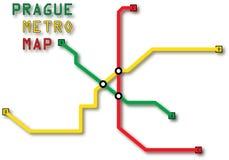 Metro van Praag Kaart Stock Afbeelding