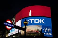 Metro znak przy nocą Zdjęcie Royalty Free