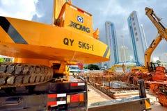Metrobau, der in der Stadt städtisch, Shenzhen, China arbeitet Stockbilder