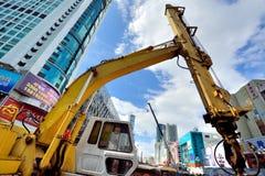 Metrobau im Stadtgeschäftsgebiet, Shenzhen, China Stockbilder