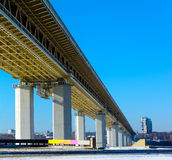 Metrobridge under Oka river (Nizhny Novgorod) Royalty Free Stock Images