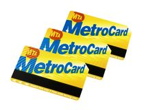 Metrocard New york City Subway isolated. On white royalty free stock photo