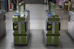 Metroingang en de machine van de uitgangspoort, Seoel, Korea stock afbeeldingen