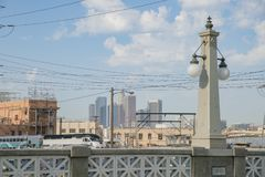 Metrolink and Los Angeles Downtown view. Los Angeles , JUN 25: Metrolink and Los Angeles Downtown view from the bridge on JUN 25, 2017 at Los Angeles, California Royalty Free Stock Image