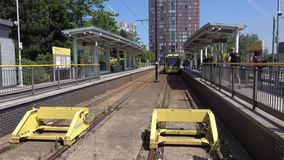 Metrolink in MediacityUK stock video